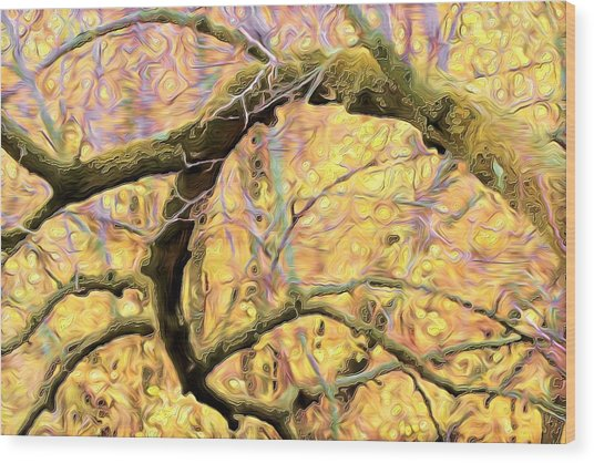 Curled Branch In Yellow Wood Print