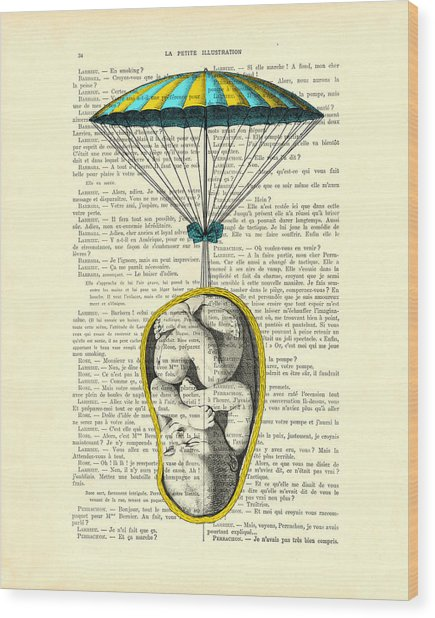 Curled Up Baby With Parachute Wood Print