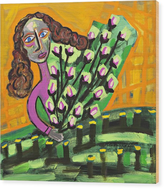 Curly Hair Lady With Pink Flowers Wood Print by Maggis Art
