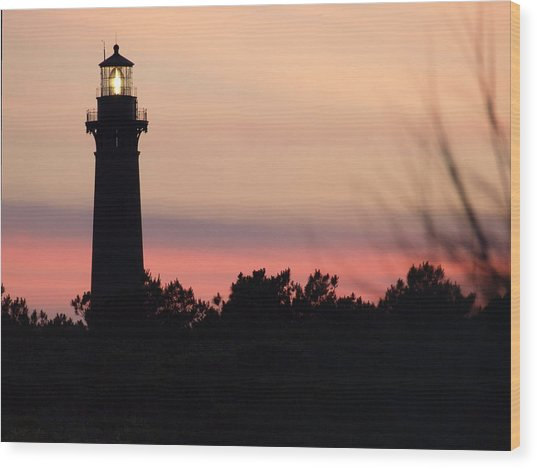 Currituck Beach Lighthouse At Sunset Wood Print