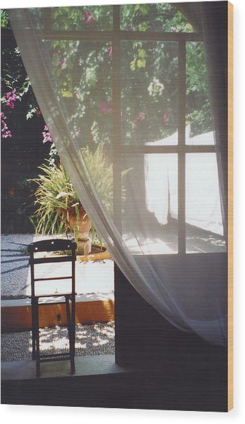 Curtain Wood Print by Andrea Simon