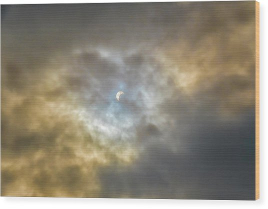 Curtain Of Clouds Eclipse Wood Print