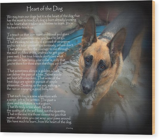 Custom Paw Print Maxx Heart Of The Dog Wood Print