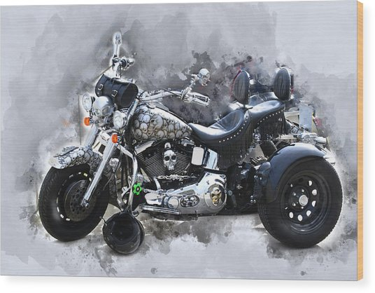 Customized Harley Davidson Wood Print