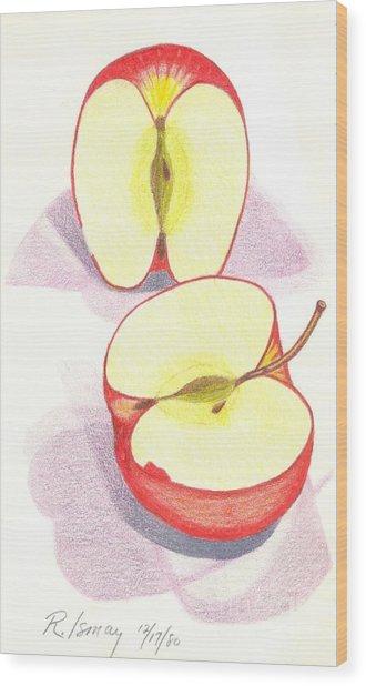 Cut Apple Wood Print