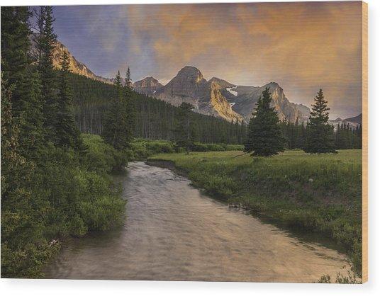 Cut Bank Creek At Sunset Wood Print