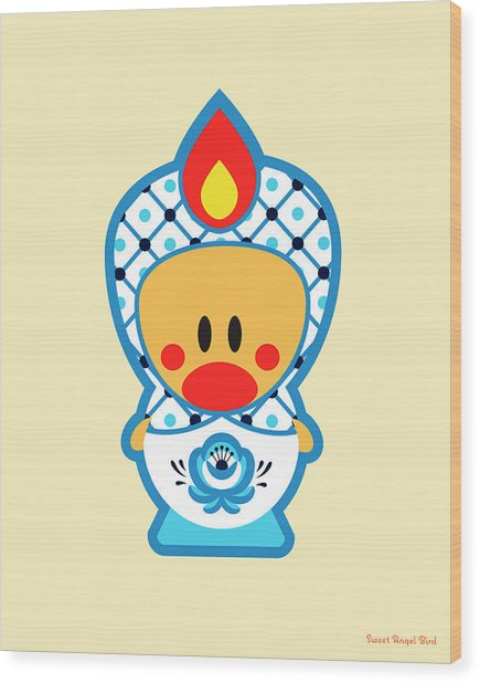 Cute Art - Blue And White Folk Art Sweet Angel Bird In A Nesting Doll Costume Wall Art Print Wood Print