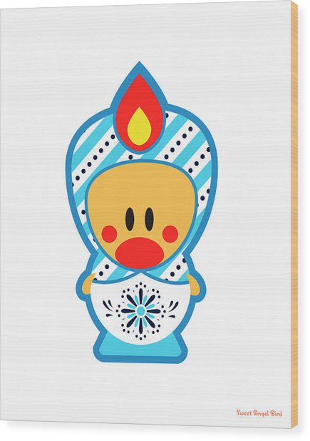 Cute Art - Blue And White Folk Art Sweet Angel Bird Nesting Doll Wall Art Print Wood Print