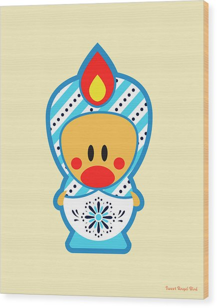 Cute Art - Blue And White Snowflake Folk Art Sweet Angel Bird In A Nesting Doll Costume Wall Art Print Wood Print