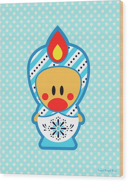 Cute Art - Blue Polka Dot Folk Art Sweet Angel Bird In A Matryoshka Costume Wall Art Print Wood Print