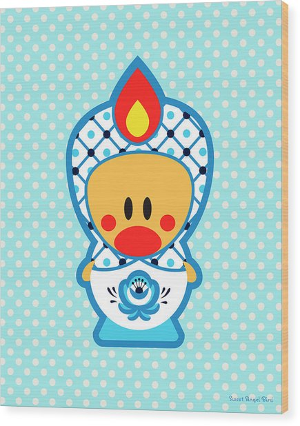 Cute Art - Blue Polka Dot Folk Art Sweet Angel Bird In A Nesting Doll Costume Wall Art Print Wood Print