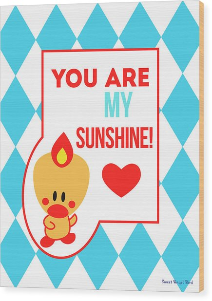 Cute Art - Sweet Angel Bird Blue You Are My Sunshine Circus Diamond Pattern Wall Art Print Wood Print