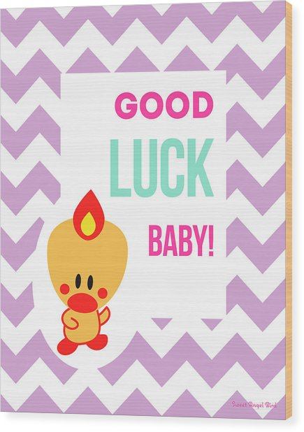 Cute Art - Sweet Angel Bird Lilac Good Luck Baby Chevron Wall Art Print Wood Print
