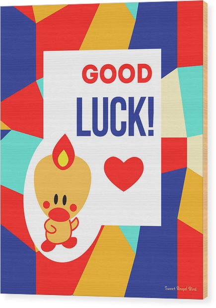 Cute Art - Sweet Angel Bird Multicolor Colorblock Good Luck Wall Art Print Wood Print