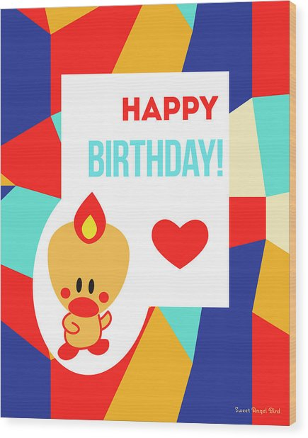 Cute Art - Sweet Angel Bird Multicolor Colorblock Happy Birthday Wall Art Print Wood Print