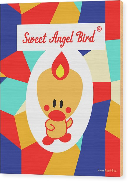 Cute Art - Sweet Angel Bird Multicolor Colorblock Logo Wall Art Print Wood Print