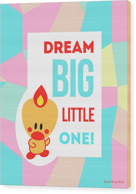 Cute Art - Sweet Angel Bird Pastel Colorblock Dream Big Little One Wall Art Print Wood Print