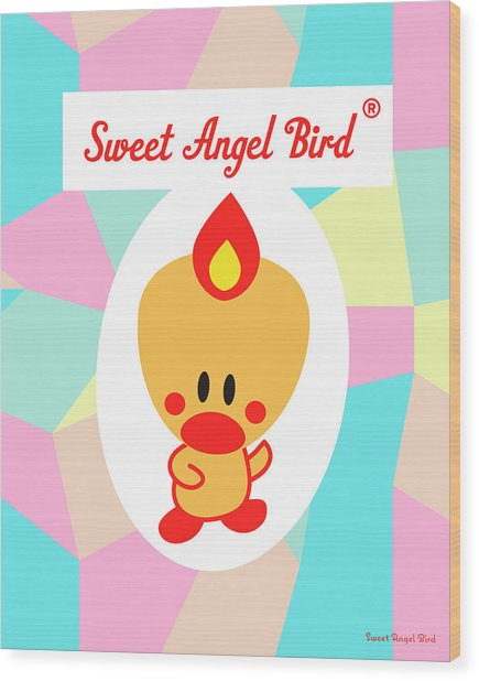 Cute Art - Sweet Angel Bird Pastel Colorblock Logo Wall Art Print Wood Print