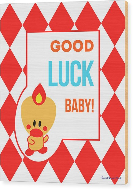 Cute Art - Sweet Angel Bird Red Good Luck Baby Circus Diamond Pattern Wall Art Print Wood Print