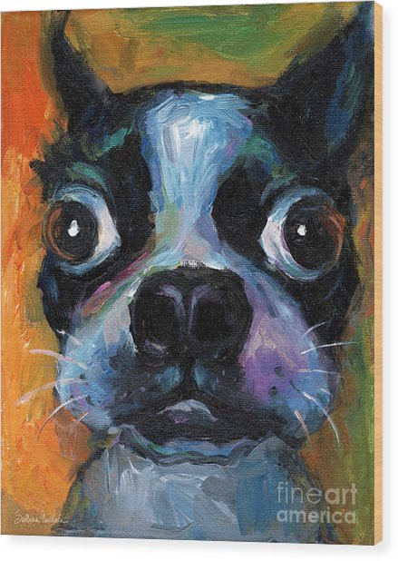 Cute Boston Terrier Puppy Art Wood Print