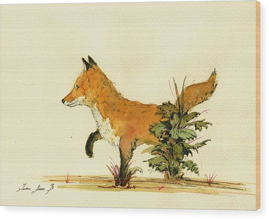 Cute Fox In The Forest Wood Print