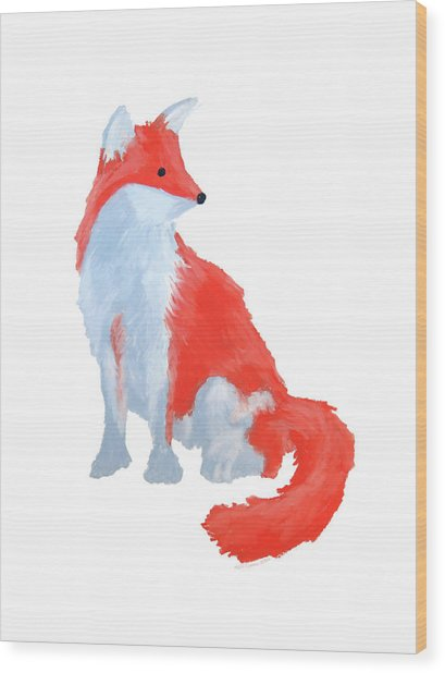 Cute Fox With Fluffy Tail Wood Print