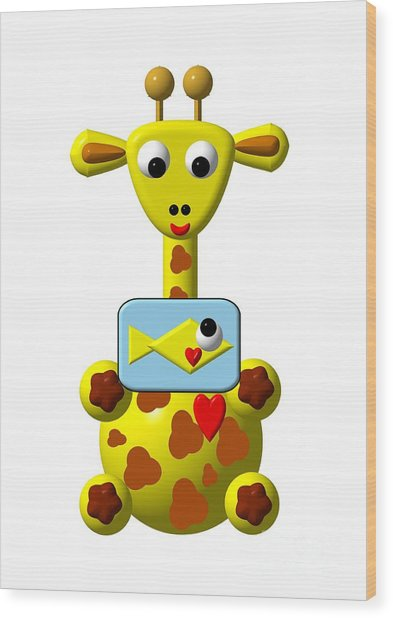 Cute Giraffe With Goldfish Wood Print
