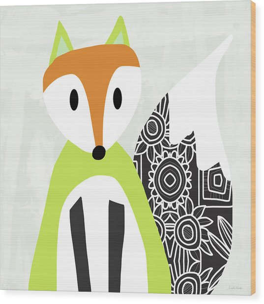 Cute Green And Black Fox- Art By Linda Woods Wood Print