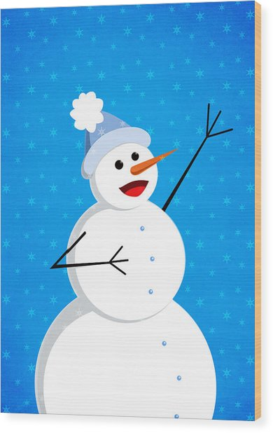 Cute Happy Snowman Wood Print