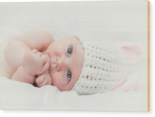 Cute Newborn Portrait Wood Print by Gualtiero Boffi