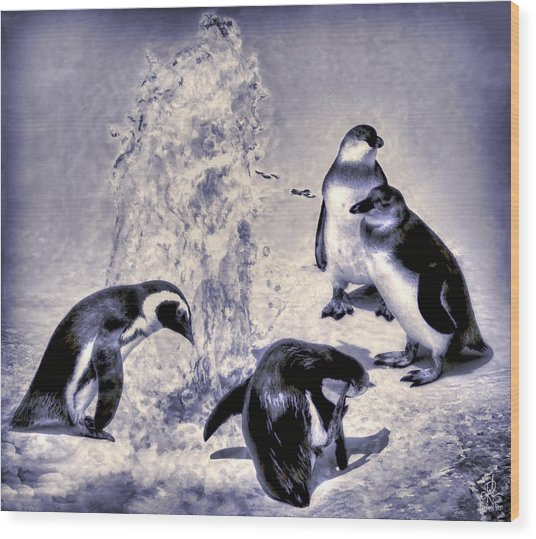 Cute Penguins Wood Print