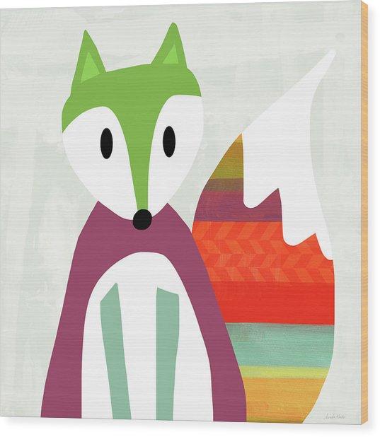 Cute Purple And Green Fox- Art By Linda Woods Wood Print