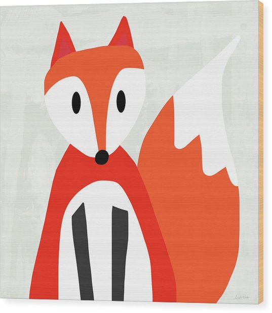 Cute Red And White Fox- Art By Linda Woods Wood Print