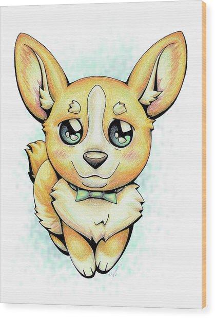 Cutie Corgi Wood Print
