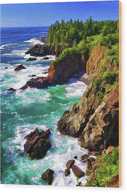 Cutler Coast Whitewater Wood Print