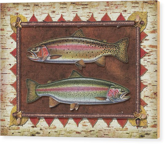 Cutthroat And Rainbow Trout Lodge Wood Print