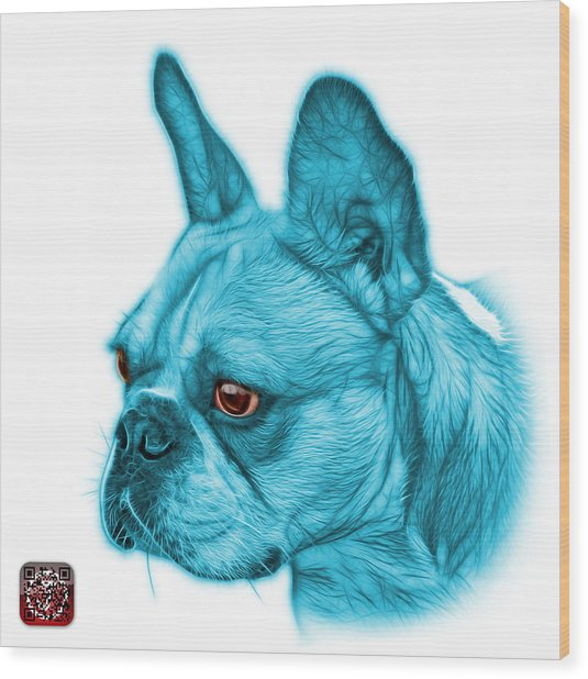 Cyan French Bulldog Pop Art - 0755 Wb Wood Print