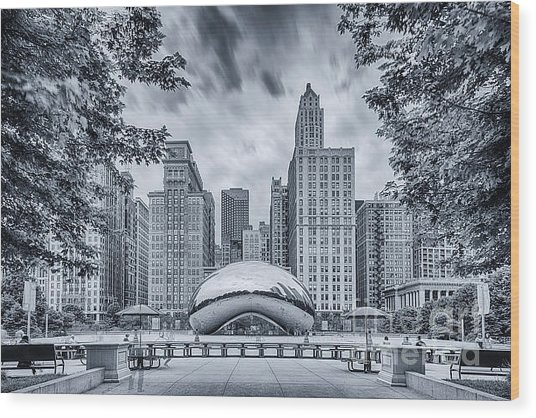 Cyanotype Anish Kapoor Cloud Gate The Bean At Millenium Park - Chicago Illinois Wood Print