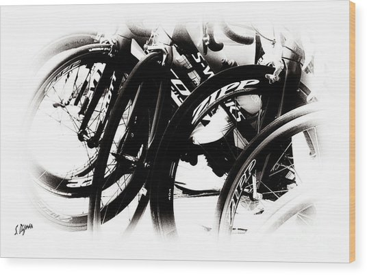 Cycling Art  Wood Print by Steven Digman