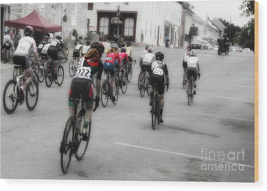 Cycling Red  Wood Print by Steven Digman