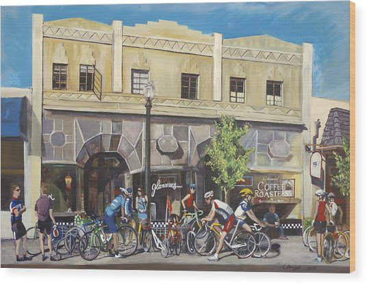 Cyclists At The Roasters Wood Print by Colleen Proppe