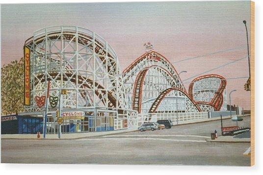 Cyclone Rollercoaster In Coney Island New York Wood Print