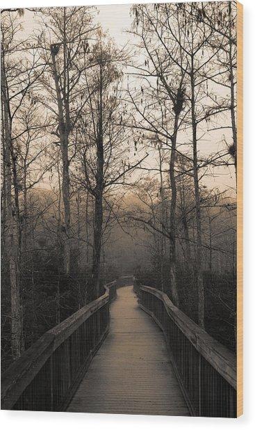 Cypress Boardwalk Wood Print