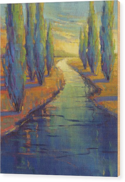 Wood Print featuring the painting Cypress Reflection by Konnie Kim