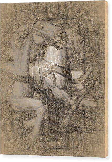 Da Vinci Carousel Wood Print