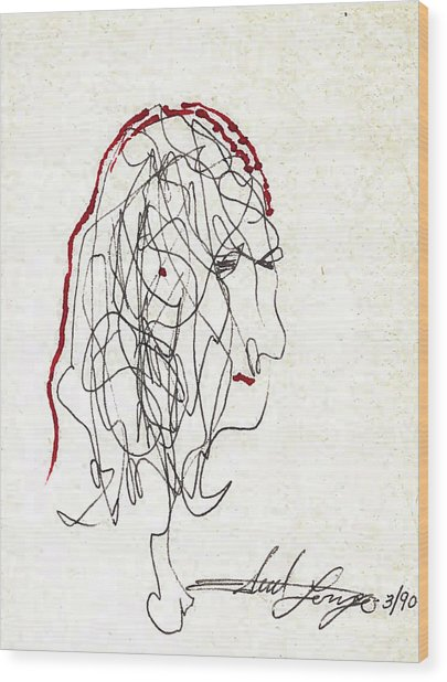Da Vinci Drawing Wood Print