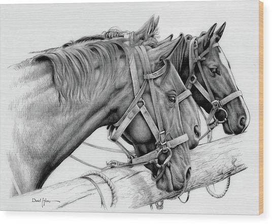 Da158 3 Horses Daniel Adams  Wood Print