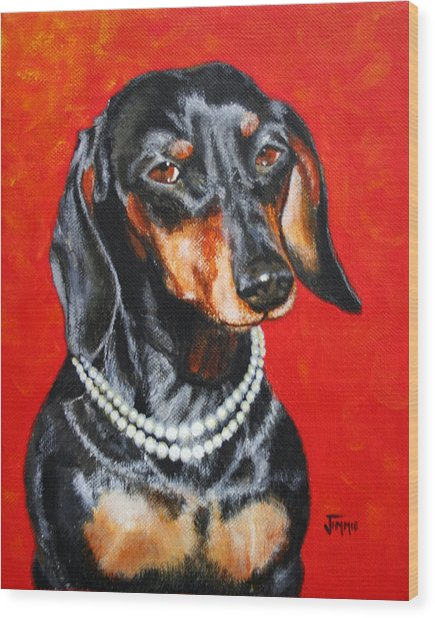 Dachshund In Pearls Wood Print