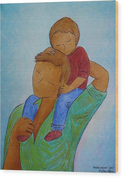 Daddy And Me Wood Print