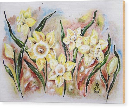 Daffodil Drama Wood Print by Amanda  Sanford